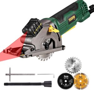 """teccpo-taps22p-4.8amp-mini-compact-circular-saw-with-laser-guide-hand-saw-3700rpm3-5/16""""-circular-saw-scale-ruler-pure-copper-motor-ideal-for-wood-soft-metal-tile-&-plastic-cuts-review"""